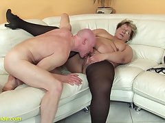 hairy 78 years old bbw granny in sexy stoxkings enjoys a rough fucking lesson