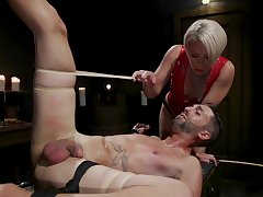 Brutal BDSM femdom with a obese ass mature slut