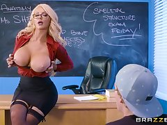 Frisky instructor Nicolette Shea rides student's big cock