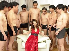 Nagisa Kazami in Nagisa Kazami is fucked by ergo many cocks in a gangbang - AvidolZ