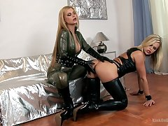 Bitchy mistress make a blunder sexy latex lingerie Wivian fucks dutiful chick