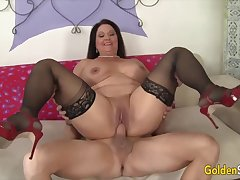 Hot and horny ancient inclusive Leylani Wood  bouncing on stiff and thick dicks in cowgirl
