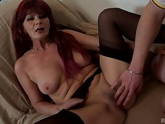 Busty mature feels vast cock pounding their way pussy big time