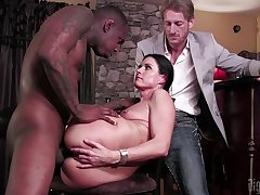 Sexy wife tries cuckold sex with a black baffle