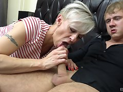 Martina Steskalova and Gerlinda Spalova sucking two steadfast dicks