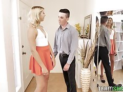 Almost titless Chanel Grey gets brutally fucked by two turned on studs