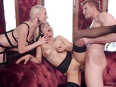Blonde milf shares the brutal sex thither her underling girl