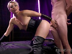 Blonde gets ass fucked away from a guy with endless inches
