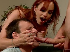 Dominant redhead shares slave's dick helter-skelter her hubby in a verge on trilogy