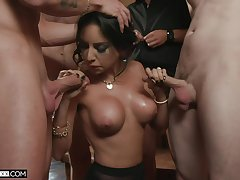 Elegant MILF deals a bunch of erect dicks in crazy home special