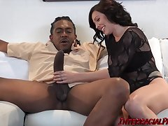 Harlow Harrison is a hot, white brunette who likes yon ride a big, black cock every day
