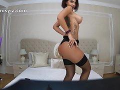 Perfect Body Latina MILF - Stiletto Heels and Stockings Striptease
