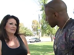Mature, Latin woman, Raquel Divine likes to have dewy sex with a handsome, black guy