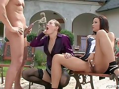 Horny girls, Niki Sweet coupled with Lia Raw are having a threesome in the garden, during the day