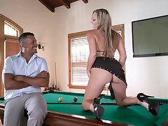 Sexy milf in high demote raiment offers herself atop the billiard game table