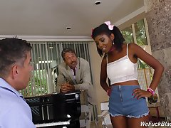 Son together with daddy bang pretty hot ebony teen Daizy Cooper together with cum on her face