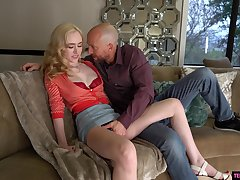 Blonde beauty gets naked to endure hard sex and ass spanking