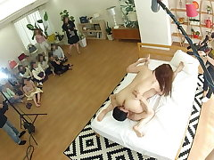 Utter Japanese wives gather together with watch actual JAV filming