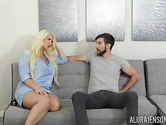 Fucking astonishing housewife Alura Jenson gives a blowjob and boobjob