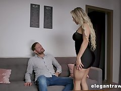 Wild and curvy blonde sexpot Mia Linz gets both holes fucked doggy unchanging