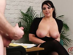 Naked boss strokes his penis while dominate secretary Kylie K watches