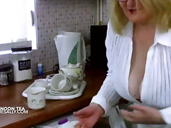 English afternoon tea with massive tits & black stockings
