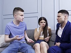 Sweetie tries fucking with two lads at the same time