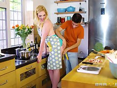 Housewife sucks the young lad's broad roughly the beam dick before putting it roughly her ass