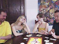 Poker night foursome with sexy chicks Harlow West and Dakota Burns