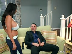 Energized MILF lands burnish apply big dick beside her ass and pussy without her daughter to understand