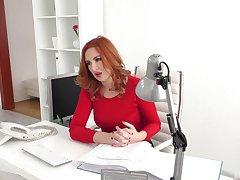 Red-haired office girl Eva Berger engages apropos hot extracurricular activities